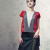 Одежда ручной работы. Ярмарка Мастеров - ручная работа Красный топ c валяной вставкой на груди. Handmade.