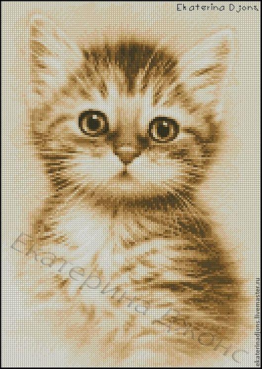 """Скрин авторской схемы вышивки крестом """"Котёнок рыжий"""""""
