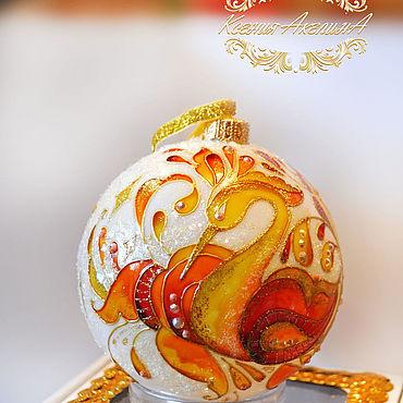 Русский стиль ручной работы. Ярмарка Мастеров - ручная работа Ёлочный шар с витражной росписью. Handmade.
