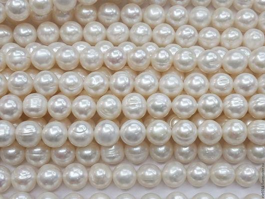 Для украшений ручной работы. Ярмарка Мастеров - ручная работа. Купить 8х9мм. Жемчуг речной,  шар, белый. Handmade.