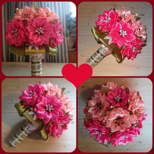 Букеты ручной работы. Ярмарка Мастеров - ручная работа. Купить букет невесты. Handmade. Розовый, лента атласная, атласная лента