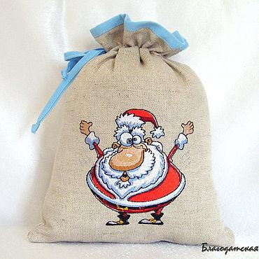 Мешочек для подарка с вышивкой Дед Мороз