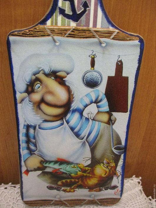 """Кухня ручной работы. Ярмарка Мастеров - ручная работа. Купить Разделочная доска """"Кок"""". Handmade. Тёмно-синий, оригинальное украшение"""