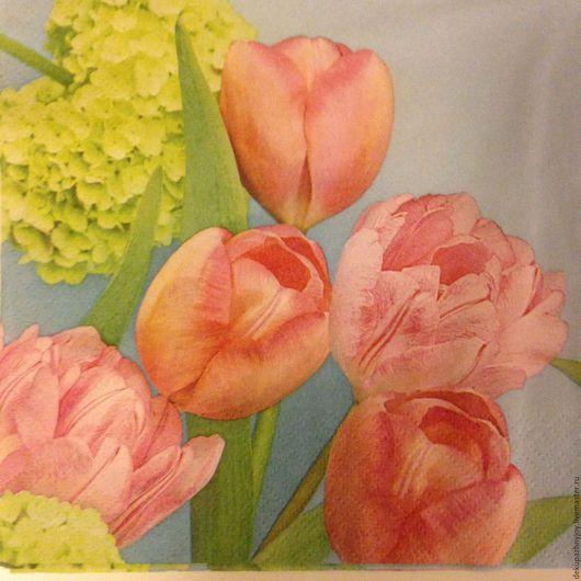 Салфетка для декупажа - нежно-розовые тюльпаны с гортензией Декупажная радость