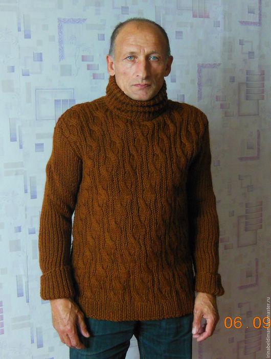 Для мужчин, ручной работы. Ярмарка Мастеров - ручная работа. Купить мужской свитер с узорами. Handmade. Коричневый, теплый свитер