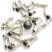 Звездчатый сапфир серебряное длинное колье Серебряные пули
