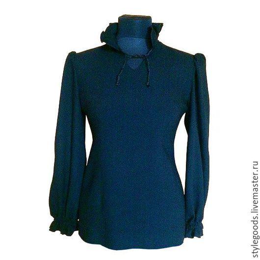 Блузки ручной работы. Ярмарка Мастеров - ручная работа. Купить Черная блуза с рюшами из итальянской шерсти. Handmade. Черный