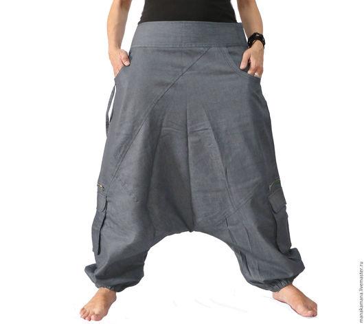 """Большие размеры ручной работы. Ярмарка Мастеров - ручная работа. Купить Большие Аладдины из серого джинса  """"7 карманов"""". Handmade."""
