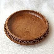 Для дома и интерьера ручной работы. Ярмарка Мастеров - ручная работа Тарелка из бука с резьбой диаметр 23 см. Handmade.
