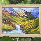 Картины и панно handmade. Livemaster - original item Mountain landscape in oil