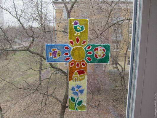 Элементы интерьера ручной работы. Ярмарка Мастеров - ручная работа. Купить Витраж Перуанский крест. Handmade. Комбинированный, перуанский крест