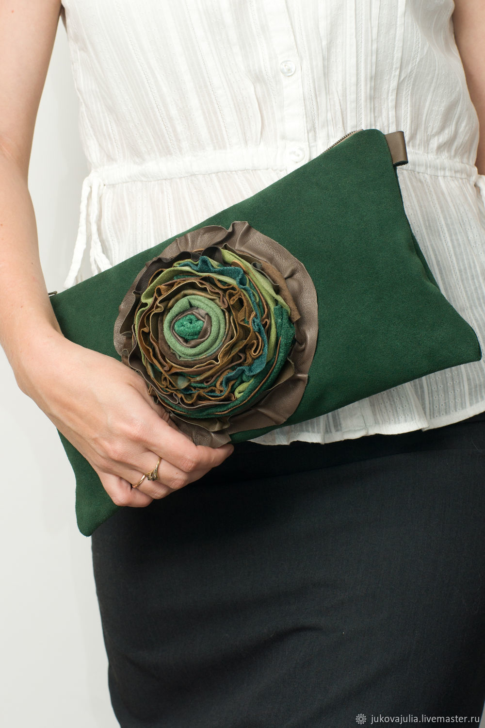 Green light green clutch, natural suede with flower, Clutches, Stavropol,  Фото №1