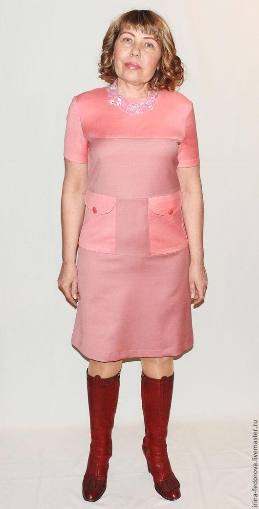 Платья ручной работы. Ярмарка Мастеров - ручная работа. Купить Платье из шерсти П-110. Handmade. Кремовый, Розовое платье