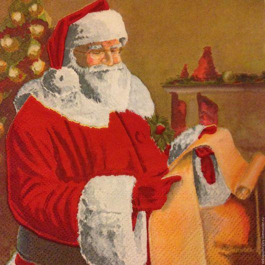 Салфетка для декупажа - Новый год - Санта-Клаус -Дед Мороз большой Декупажная радость