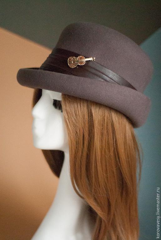"""Шляпы ручной работы. Ярмарка Мастеров - ручная работа. Купить Шляпа-цилиндр """"Музыкальный вечер"""". Handmade. Коричневый, осенняя коллекция"""