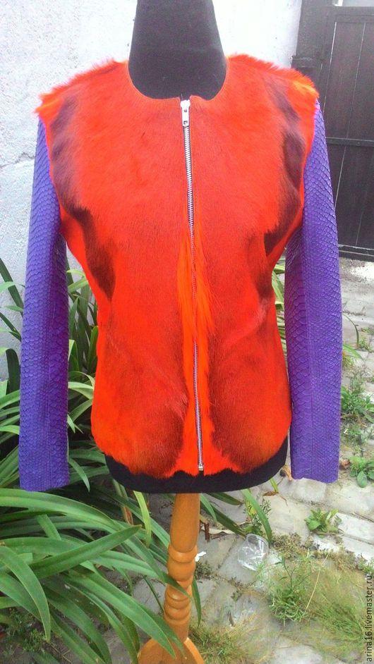 Верхняя одежда ручной работы. Ярмарка Мастеров - ручная работа. Купить меховая куртка  комбинированная. Handmade. Разноцветный, одежда из питона
