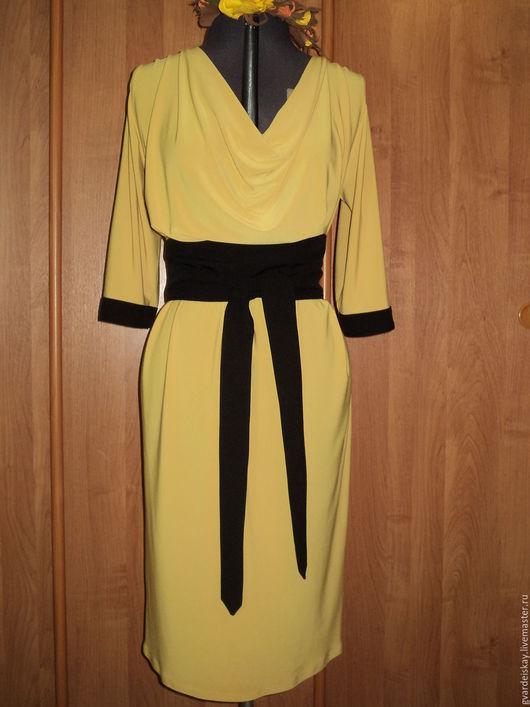 Платья ручной работы. Ярмарка Мастеров - ручная работа. Купить Платье с водопадом. Handmade. Желтый, платье, эластичное, легкое, габардин