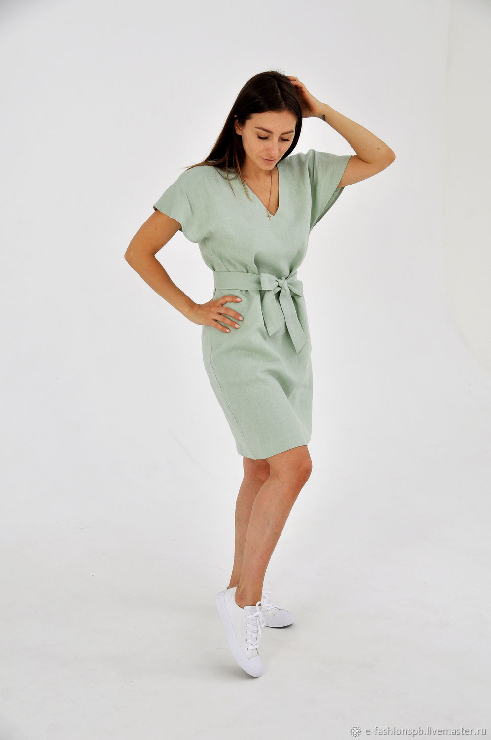Mint-colored linen dress, Dresses, St. Petersburg,  Фото №1
