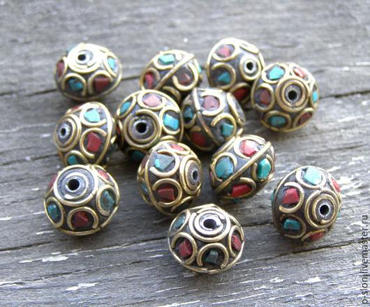 Для украшений ручной работы. Ярмарка Мастеров - ручная работа. Купить Бусины тибетские с бирюзой и кораллом БН22. Handmade.