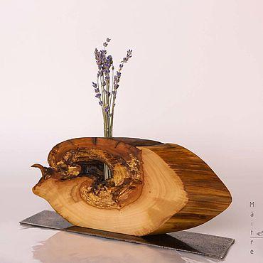 """Для дома и интерьера ручной работы. Ярмарка Мастеров - ручная работа Ваза из дерева Maitre """"Улиточка"""" на стальной подставке. Handmade."""