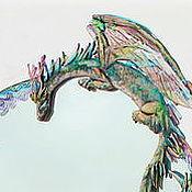 Для дома и интерьера ручной работы. Ярмарка Мастеров - ручная работа Зеркало. Фьюзинг с Драконом и цветами.. Handmade.