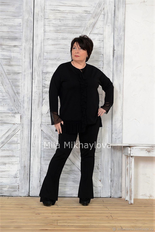 pants: Trousers-leggings with flounces black Turin Art. Three thousand three hundred sixteen, Pants, Kirov,  Фото №1
