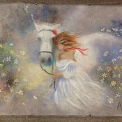 Картины и панно ручной работы. Ярмарка Мастеров - ручная работа девушка с лошадью. Handmade.