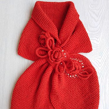 Clothing handmade. Livemaster - original item Scarf for children, red, with flowers and rhinestones.. Handmade.