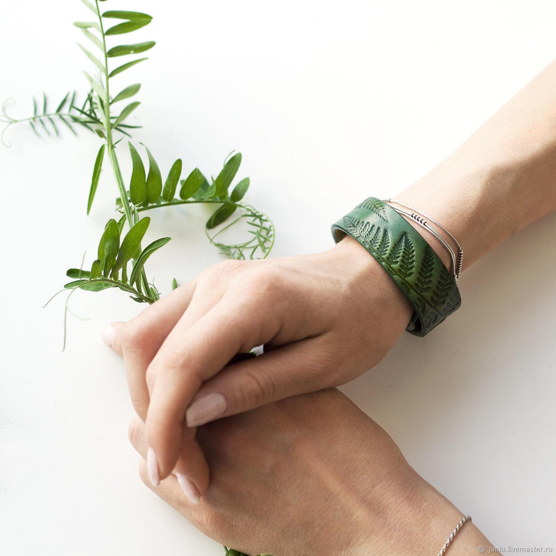 Green Leather Bracelet for Women Girls, Bracelets, Ivanovo, Фото №1
