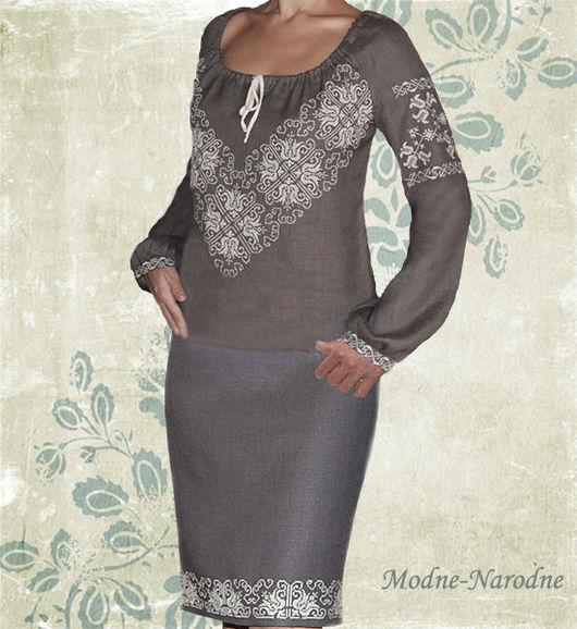 Модная одежда с ручной вышивкой. Творческое ателье modne-narodne. Льняная юбка с ручной вышивкой Дымка.