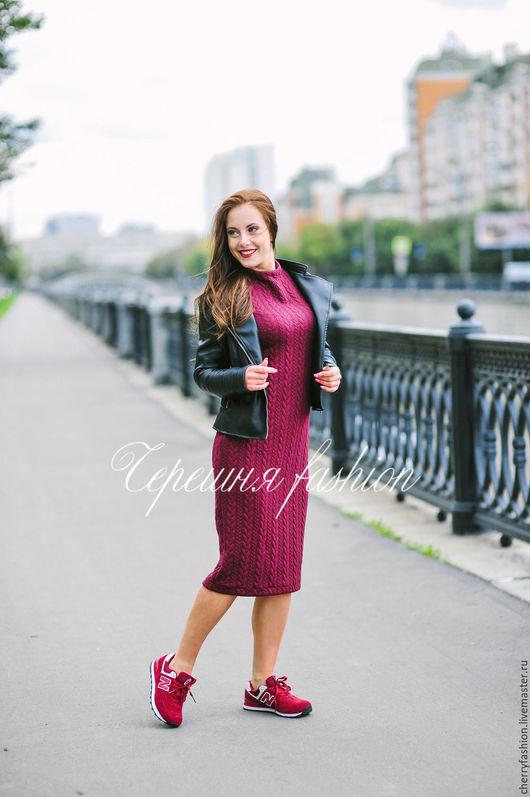 Платья ручной работы. Ярмарка Мастеров - ручная работа. Купить СКИДКИ-30% Теплое базовое платье. Handmade. Бордовый