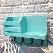 handmade. Livemaster - original item Key holder wall Turquoise. Handmade.