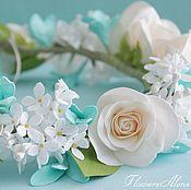 Украшения в прическу ручной работы. Ярмарка Мастеров - ручная работа Венок невесты с розами и сиренью. Handmade.