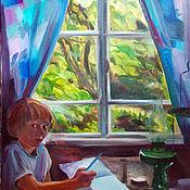 Картины и панно ручной работы. Ярмарка Мастеров - ручная работа Картина. Абхазия. Сын. Дождь за окном. Handmade.