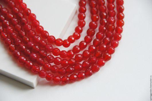 Для украшений ручной работы. Ярмарка Мастеров - ручная работа. Купить Нефрит бусина СЛАДКАЯ КЛЮКВА , красная 6 мм,граненный шар. Handmade.