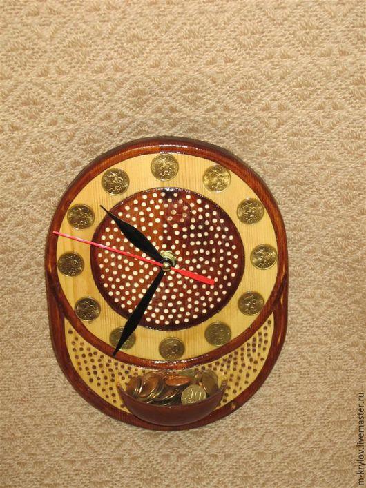 """Часы для дома ручной работы. Ярмарка Мастеров - ручная работа. Купить Часы деревянные """"Время-Деньги"""".. Handmade. Коричневый, дерево"""