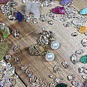 Серьги классические ручной работы. Ярмарка Мастеров - ручная работа Золотые серьги с бриллиантами и жемчужными подвесками. Handmade.