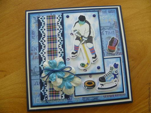 """Открытки для мужчин, ручной работы. Ярмарка Мастеров - ручная работа. Купить Открытка """"Настоящему мужчине"""". Handmade. Голубой, открытка для спортсмена"""