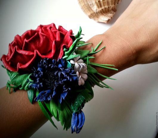 """Браслеты ручной работы. Ярмарка Мастеров - ручная работа. Купить Браслет """"Полевые цветы"""". Handmade. Ярко-красный, полевые цветы"""