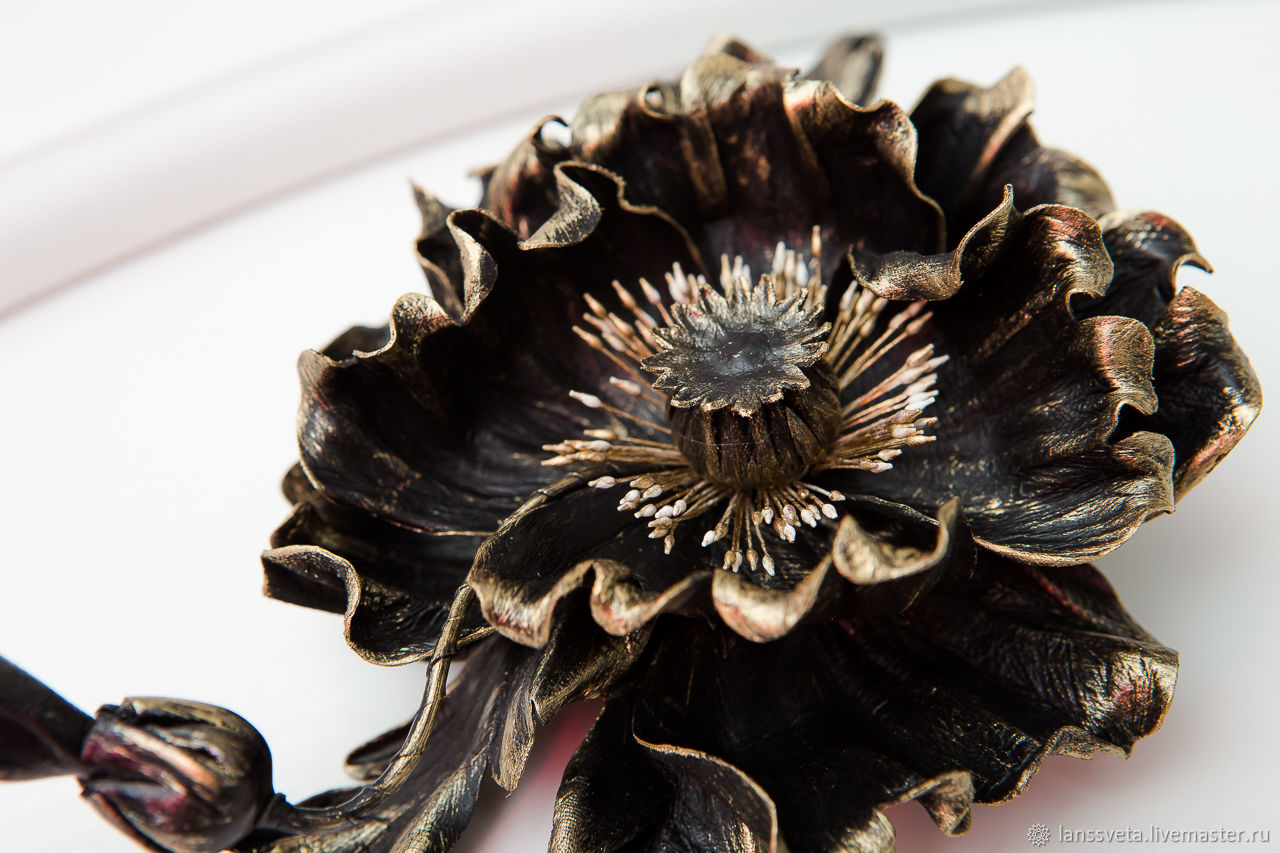 Leather decoration poppy Black gold and poppy Black silver, Brooches, Bobruisk,  Фото №1