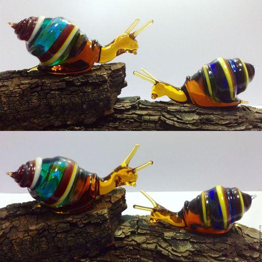 Украшения для цветов ручной работы. Ярмарка Мастеров - ручная работа. Купить Украшение  для горшечных растений, стеклянная фигурка Улитка. Handmade.