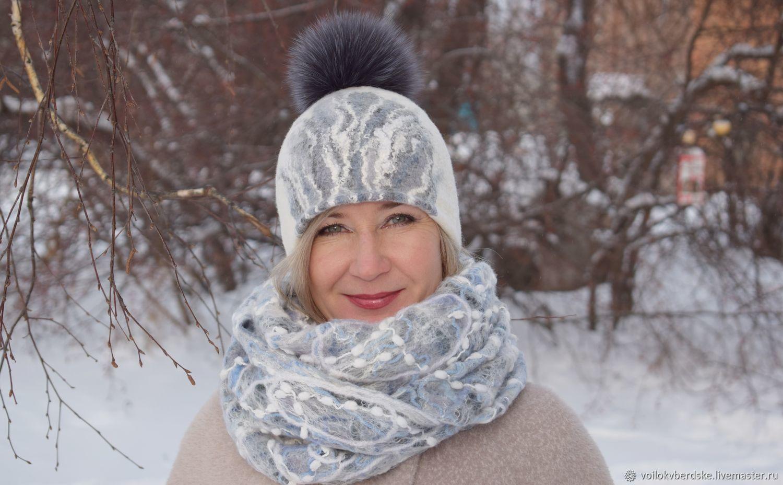 Felted women's hat.Warm wool hat with fur pompom, Caps, Berdsk,  Фото №1