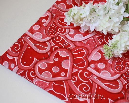 Шитье ручной работы. Ярмарка Мастеров - ручная работа. Купить Хлопковая ткань Красные сердца. Handmade. Ткань для творчества