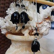 Украшения handmade. Livemaster - original item Black Roses Lampwork Murano silver-925. Handmade.