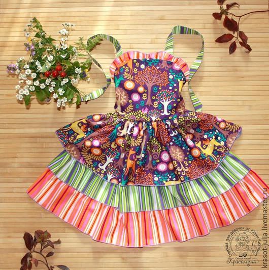 Одежда для девочек, ручной работы. Ярмарка Мастеров - ручная работа. Купить Сказочный лес. Платье - сарафан для девочки. Handmade. В полоску
