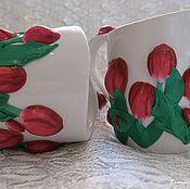 """Подарки к праздникам ручной работы. Ярмарка Мастеров - ручная работа Кружка """"Тюльпаны - кровь дракона"""". Handmade."""