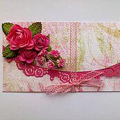 Свадебный салон ручной работы. Ярмарка Мастеров - ручная работа Подарочный конверт для денег «Розовая феерия». Handmade.