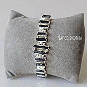 Серебряный браслет из кристаллов чёрного турмалина. Серебро 925 пробы.