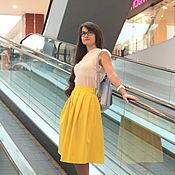 Одежда ручной работы. Ярмарка Мастеров - ручная работа Желтая юбка со складками. Handmade.
