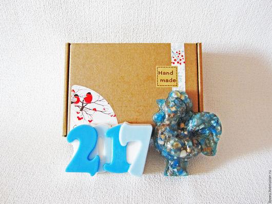 """Новый год 2017 ручной работы. Ярмарка Мастеров - ручная работа. Купить Новогодний набор мыла """"Год Петуха"""", синий, подарки на новый год 2017. Handmade."""